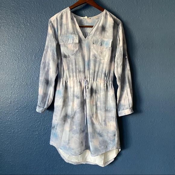 Rebecca Taylor 100% Silk Blue Tie Dye Dress Size 4